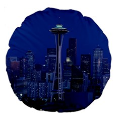 Space Needle Seattle Washington Large 18  Premium Round Cushions by Nexatart