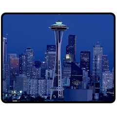 Space Needle Seattle Washington Double Sided Fleece Blanket (medium)  by Nexatart