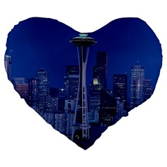 Space Needle Seattle Washington Large 19  Premium Flano Heart Shape Cushions