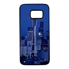 Space Needle Seattle Washington Samsung Galaxy S7 Black Seamless Case by Nexatart