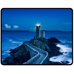 Plouzane France Lighthouse Landmark Fleece Blanket (medium)