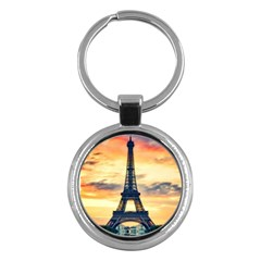Eiffel Tower Paris France Landmark Key Chains (round)  by Nexatart