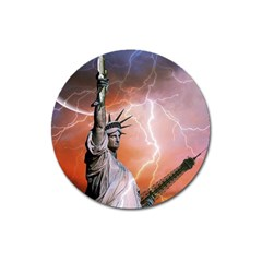 Statue Of Liberty New York Magnet 3  (round)