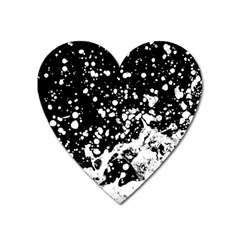 Black And White Splash Texture Heart Magnet by dflcprints