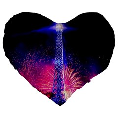 Paris France Eiffel Tower Landmark Large 19  Premium Heart Shape Cushions