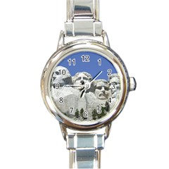 Mount Rushmore Monument Landmark Round Italian Charm Watch by Nexatart