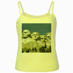 Mount Rushmore Monument Landmark Yellow Spaghetti Tank
