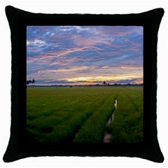 Landscape Sunset Sky Sun Alpha Throw Pillow Case (black) by Nexatart
