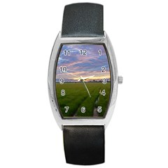 Landscape Sunset Sky Sun Alpha Barrel Style Metal Watch by Nexatart