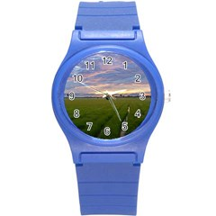 Landscape Sunset Sky Sun Alpha Round Plastic Sport Watch (s) by Nexatart