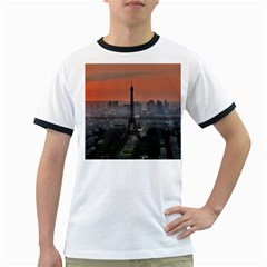 Paris France French Eiffel Tower Ringer T Shirts