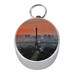 Paris France French Eiffel Tower Mini Silver Compasses