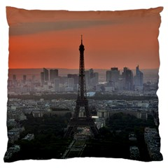 Paris France French Eiffel Tower Large Flano Cushion Case (one Side) by Nexatart