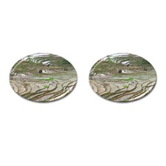 Rice Fields Terraced Terrace Cufflinks (oval)