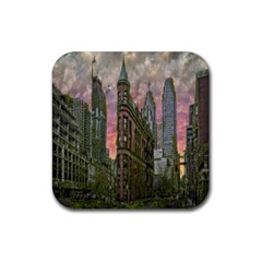 Flat Iron Building Toronto Ontario Rubber Square Coaster (4 Pack)