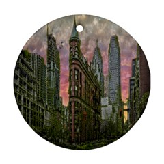 Flat Iron Building Toronto Ontario Round Ornament (two Sides) by Nexatart