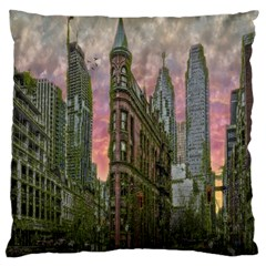 Flat Iron Building Toronto Ontario Large Cushion Case (one Side)