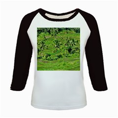 Greenery Paddy Fields Rice Crops Kids Baseball Jerseys by Nexatart