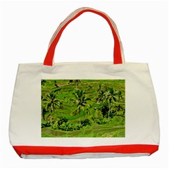 Greenery Paddy Fields Rice Crops Classic Tote Bag (red) by Nexatart