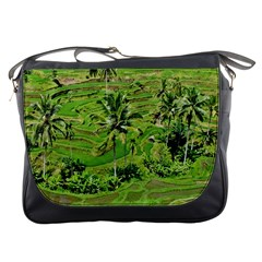 Greenery Paddy Fields Rice Crops Messenger Bags