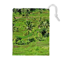 Greenery Paddy Fields Rice Crops Drawstring Pouches (extra Large) by Nexatart
