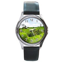 Bali Rice Terraces Landscape Rice Round Metal Watch