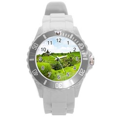 Bali Rice Terraces Landscape Rice Round Plastic Sport Watch (l) by Nexatart