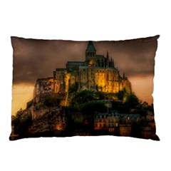 Mont St Michel Sunset Island Church Pillow Case (two Sides) by Nexatart