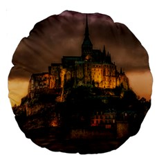 Mont St Michel Sunset Island Church Large 18  Premium Round Cushions by Nexatart