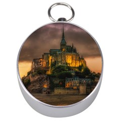 Mont St Michel Sunset Island Church Silver Compasses by Nexatart