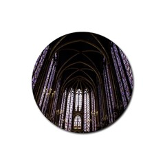 Sainte Chapelle Paris Stained Glass Rubber Round Coaster (4 Pack)