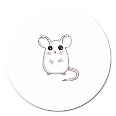 Cute Mouse Magnet 5  (round) by Valentinaart