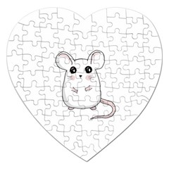 Cute Mouse Jigsaw Puzzle (heart) by Valentinaart