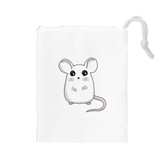 Cute Mouse Drawstring Pouches (large)  by Valentinaart