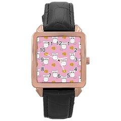 Cute Mouse Pattern Rose Gold Leather Watch