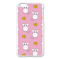 Cute Mouse Pattern Apple Iphone 6 Plus/6s Plus Enamel White Case by Valentinaart