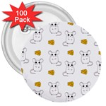 Cute Mouse Pattern 3  Buttons (100 pack)  Front