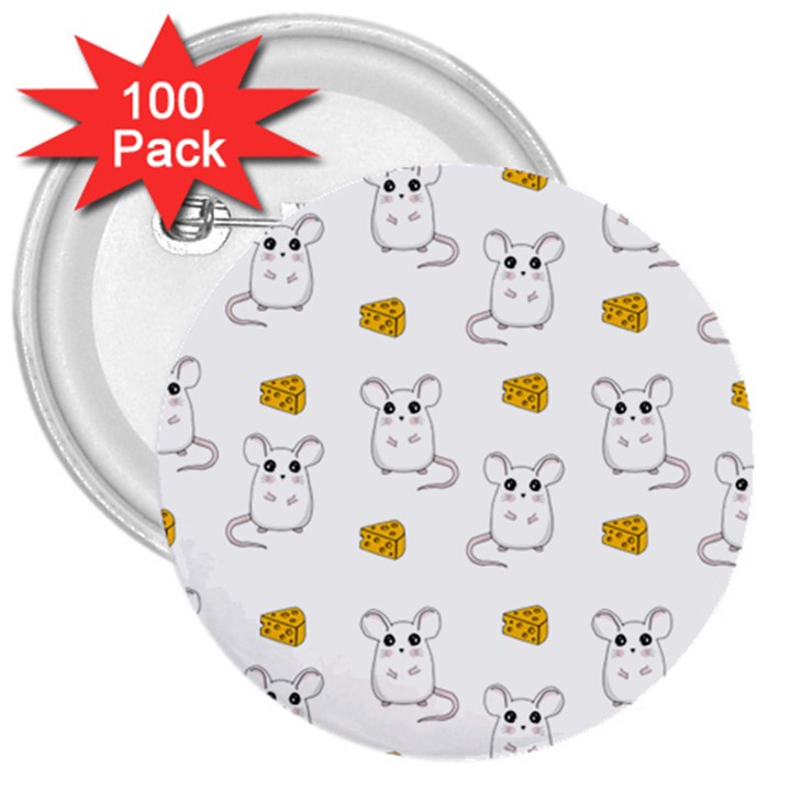 Cute Mouse Pattern 3  Buttons (100 pack)