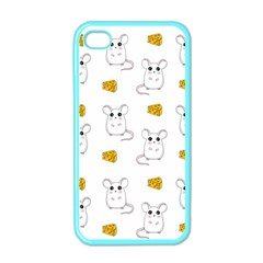 Cute Mouse Pattern Apple Iphone 4 Case (color) by Valentinaart