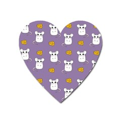Cute Mouse Pattern Heart Magnet by Valentinaart