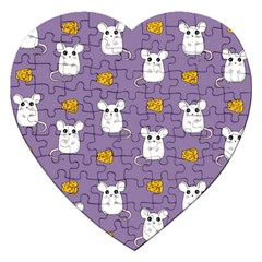 Cute Mouse Pattern Jigsaw Puzzle (heart) by Valentinaart