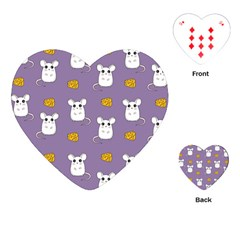 Cute Mouse Pattern Playing Cards (heart)  by Valentinaart