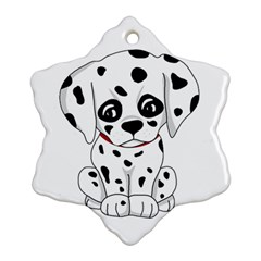 Cute Dalmatian Puppy  Snowflake Ornament (two Sides) by Valentinaart