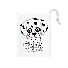 Cute Dalmatian Puppy  Drawstring Pouches (medium)