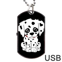 Cute Dalmatian Puppy  Dog Tag Usb Flash (one Side) by Valentinaart