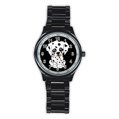 Cute Dalmatian Puppy  Stainless Steel Round Watch