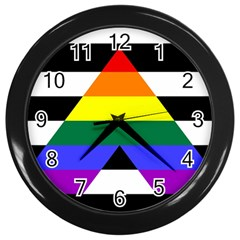 Straight Ally Flag Wall Clocks (black) by Valentinaart