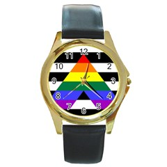 Straight Ally Flag Round Gold Metal Watch by Valentinaart