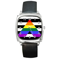 Straight Ally Flag Square Metal Watch by Valentinaart