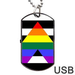 Straight Ally Flag Dog Tag Usb Flash (one Side) by Valentinaart